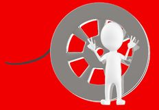 3d white character and a film reel. Red background- 3d rendering vector illustration