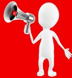 3d white character holding a megaphone. Red background- 3d rendering Royalty Free Stock Images