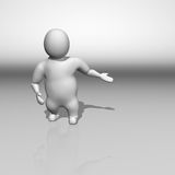 3D white character inviting pose Stock Photos