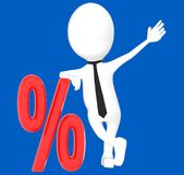 3d white character leaning over percentage sign , discount sale. Blue background- 3d rendering Royalty Free Stock Image