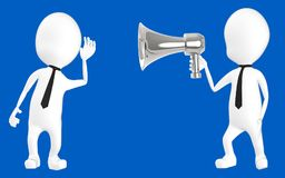3d white character listening to the loud hailer. Blue background- 3d rendering Stock Image