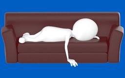 3d white character lying on sofa. Blue background- 3d rendering Royalty Free Stock Images