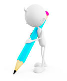 3d White character with pencil Stock Photos