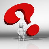 3D white character and question mark Stock Photos