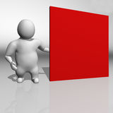 3D white character and a red board Royalty Free Stock Photography