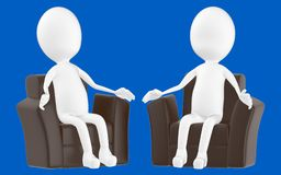 3d white character , sitting in a sofa. Blue background- 3d rendering Stock Photo
