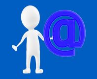 3d white character , standing near to email sign. Blue background- 3d rendering Royalty Free Stock Photography