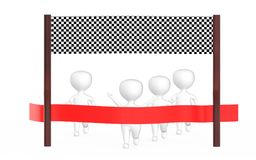3d white character is about to cross the finish line precceding many other character,s. 3d rendering Royalty Free Stock Images