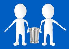 3d white character - two character carrying recycle bin stock illustration