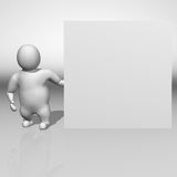 3D white character and a white board Stock Photography