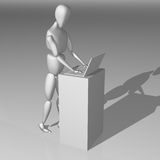 3D white character working on a notebook Royalty Free Stock Image