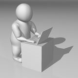 3D white character working on a notebook Stock Photography