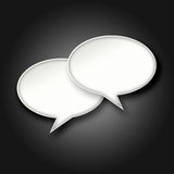 3D White chat bubbles on dark background. 3D blank white chat bubbles on dark black gradient background Stock Photo