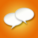 3D White chat bubbles on orange background. 3D blank white chat bubbles on bright orange gradient background Royalty Free Stock Photography