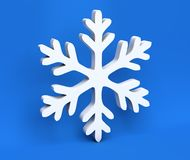 3d white Christmas snowflake isolated on blue background Stock Image