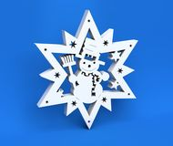 3d white Christmas snowflake isolated on blue background Royalty Free Stock Images