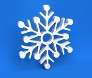 3d white Christmas snowflake isolated on blue background Royalty Free Stock Photography