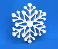 3d white Christmas snowflake isolated on blue background Stock Photo