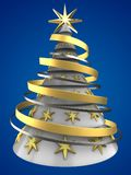 3d white Christmas tree. 3d illustration of white Christmas tree over blue background with stars decoration Stock Photography