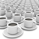 3d White coffee cups Royalty Free Stock Images