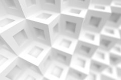 3d White Cube Construction. Modern Architecture Background Royalty Free Stock Images