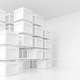 3d White Cubes Background Royalty Free Stock Image