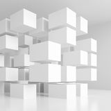 3d White Cubes Background. Abstract Futuristic Design Stock Images