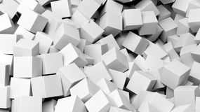 3D white cubes pile abstract. Background Royalty Free Stock Images