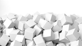 3D white cubes pile. Isolated on white with copy-space Stock Photography