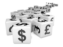 3d White currency symbol dice Royalty Free Stock Images