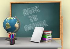 3d white desk. 3d illustration of board with back to school text and books stack Stock Images