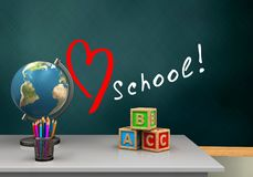 3d white desk. 3d illustration of schoolboard with love school text and abc cubes Royalty Free Stock Photo