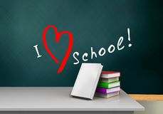 3d white desk. 3d illustration of schoolboard with love school text and books stack Stock Images