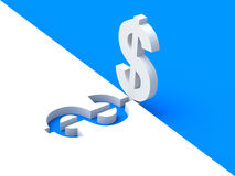 3D white dollar sign over blue background Stock Photo