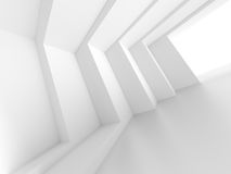 3d White Empty Hall. Modern Architecture Background Stock Photos