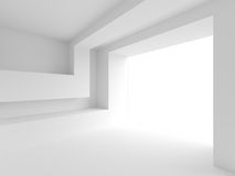 3d White Empty Hall. Modern Architecture Background Stock Images