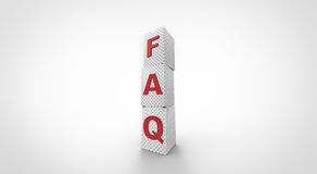 3D white FAQ cubes. Simple Royalty Free Stock Photography