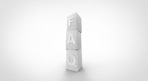 3D white FAQ cubes. Simple Royalty Free Stock Photos