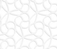 3D white floral with cherries. Seamless geometric background. Pattern with realistic shadow and cut out of paper effect.White 3d paper.3D white floral with Royalty Free Stock Image