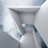 3d white futuristic interior and blue cloudy sky Royalty Free Stock Images