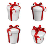 3D white gift box set in a round. 3D Icon Design Series. Stock Images