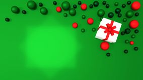 3d white gift box  tied with a red satin ribbon bow. And COLOR balls on green background.for Christmas and HAPPY new year.2018 Royalty Free Stock Image