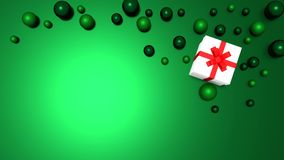 3d white gift box tied with a red satin ribbon bow. And green balls on green background.for Christmas and HAPPY new year.2018 Vector Illustration