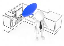 3d white guy with empty speech bubble standing inside a office cubicle stock illustration