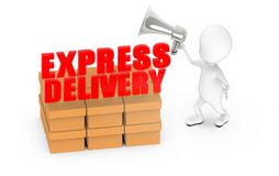3d white guy , holding a megaphone , announce -express delivery cargo. 3d rendering vector illustration