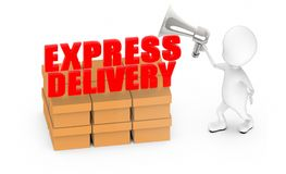 3d white guy , holding a megaphone , announce -express delivery cargo. 3d rendering royalty free illustration