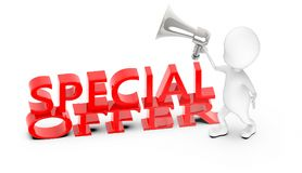 3d white guy , holding a megaphone , announce -special offer text. 3d rendering royalty free illustration