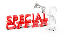 3d white guy , holding a megaphone , announce -special offer text. 3d rendering vector illustration