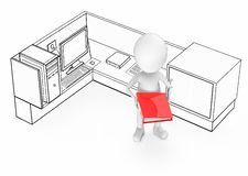 3d white guy holding a red color file in his hands and standing inside a office cubicle royalty free illustration