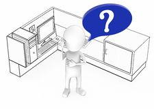 3d white guy with question mark in speech bubble standing inside a office cubicle stock illustration